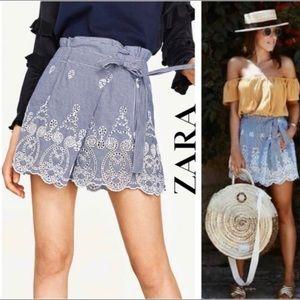Zara skorts Gingham Embroidered bottom scallopedXS